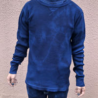 オールシーズンに活躍!藍染めワッフル生地ロングスリーブシャツSサイズ 濃淡染め 男女兼用『一点物』