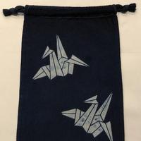 藍染め巾着「折鶴」型染め デザイン