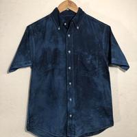 日頃の感謝を込めて大特価!!『一点物』&コロナに負けるな!!藍染めオックスフォード半袖Yシャツ Sサイズ 濃淡染め 男女兼用『一点物』