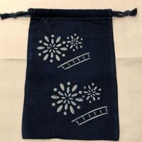 藍染め巾着「花火」型染め デザイン