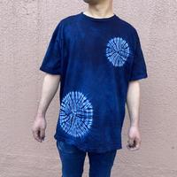 日頃の感謝を込めて大特価!!『一点物』藍染め唐松絞りTシャツ濃淡染め技法 Lサイズ  男女兼用『一点物』