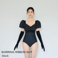 SHIRRING RIBBON SUIT(black)