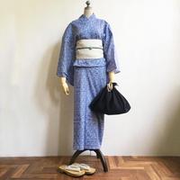 【5点set】オリジナル浴衣&帯、小物セット「波」青