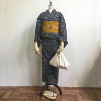 【5点set】オリジナル浴衣&帯セット「波」濃紺