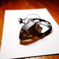 ガウリシャンカール産ヒマラヤ水晶(スモーキー)サテンコードネックレス N