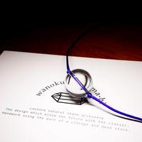クリスタル  ネックレス サテンコード紫