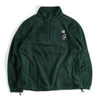 VINYL JUNKIE - VJ Record Tag Half Zip Fleece Jacket / Green