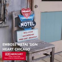 EMBOSS METAL SIGN HEART CHICAGO/エンボスメタルサインハートシカゴ