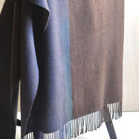 SHAWL  -Navy blue×Brown-