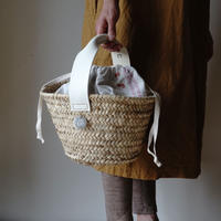 White Leather handle BAG+ antique cloth pouch vol.1