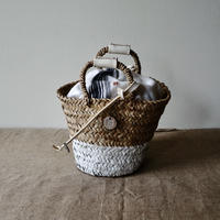 White leather & paint 2 handle BAG +antique cloth pouch