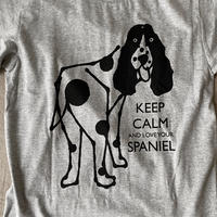 "DRAWING ""LOVE SPANIEL"" Tee Shirts GREY"