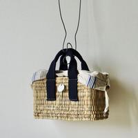 Navy blue tote basket + Antique cloth pouch (blue)