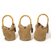 麻袋と竹のバッグ バケツ型