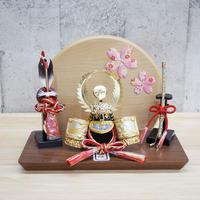 德川家康兜・歯朶前立彫金ゴールド【桜押絵飾り】