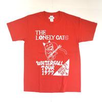 「猫バンド」レコードワッペン猫ツアーTシャツ  レッド S/M/L WATERFALLオリジナル限定商品