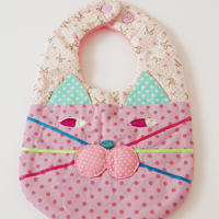 CAT BIB (S) / ribbon×pink dot