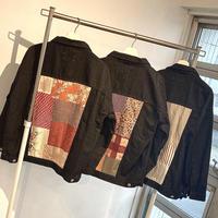 WAGARA Patchwork Denim Jacket - BLACK