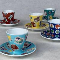 【Shipping 50%OFF!!】Fortune mini cup & saucer 5 set/KUTANI ware