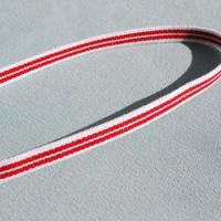 ガーリーな赤×白のボーダー三部紐 (長尺)