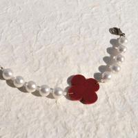 レトロフラワーとコットンパールの羽織紐(赤)