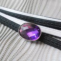 カットビジューの帯留(艶紫)