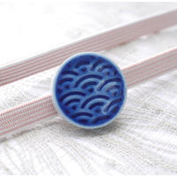 青海波柄の帯留(藍)