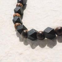 男性用羽織紐(14)黒×茶(柄)