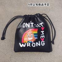 ペイントドローストリングバッグ【WCJ-GE-004BK】
