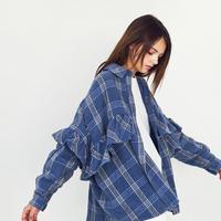 チェックフリルネルシャツ【WCJ-GN-007BU】