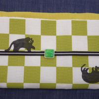 麻八寸帯「市松に猫」