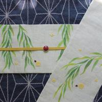 半巾帯「柳にホタル」