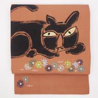 名古屋帯「猫と花」