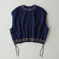 Side Zip Over Size Knit  Vest(Navy)