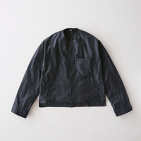 Viegin wool no collar blouson (Navy)