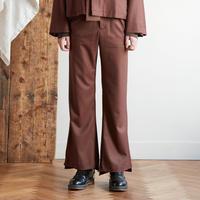 Both sides slit flare pants(Brown)