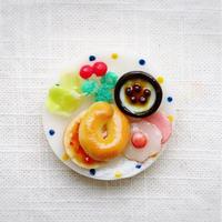 朝食プレート ベーグル+ブルーベリーヨーグルト マグネット