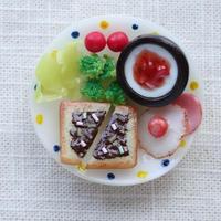 【受注製作】朝食プレート  チョコパン+イチゴヨーグルト マグネット