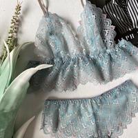 Flutter lace bralette emerald green【T-0155】