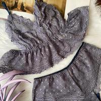 Flutter lace bralette gray   【T-0073】
