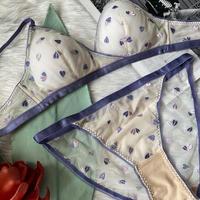 heart bralette set purple【A-0142-PUR】