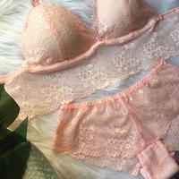 パッド付きレースブラ pink set