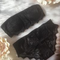 パッド付きstrapless bralette set black