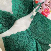 Numéro5 パッド付レースブラgreen flowers set