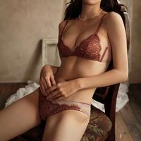Fringe flower lace bralette set up brown × pink beige 【A-0014-BR】