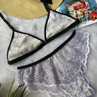 Front hook flowers lace bralette set white