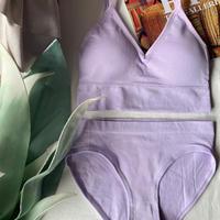 ブラMsize×ショーツLsize  rib set light lavender  【A-0237-LA】