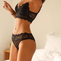 Lace-up shorts bralette set black  【 A-0252-BK 】