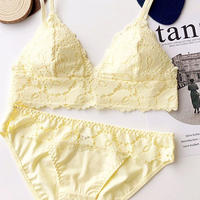 パッド付き pastel color bralette set up  yellow