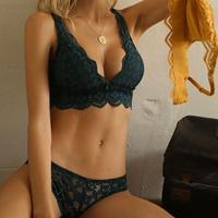 パッド付き deep green bralette set up